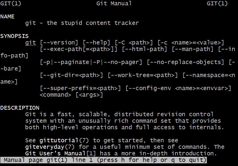man file for git displayed in Windows 10